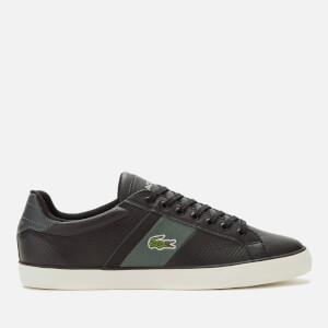 Lacoste Men's Fairlead Leather And Canvas Trainers - Black/Dark Grey