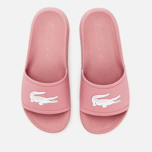 Lacoste Women's Croco Slide Sandals - Pink/White