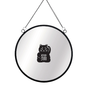 Lucky Cat Circular Mirror