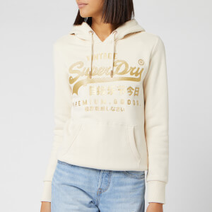 Superdry Women's V Logo Premium Luxe Entry Hoody - Soft White