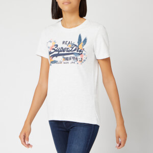 Superdry Women's V Logo Puff Emb Entry T-Shirt - Ice Marl