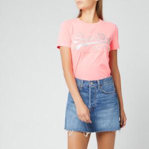 Superdry Women's V Logo Glitter Emboss Entry T-Shirt - Fluro Pink Marl