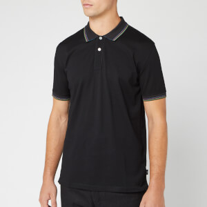 PS Paul Smith Men's Sports Stripe Collar Detail Polo Shirt - Black
