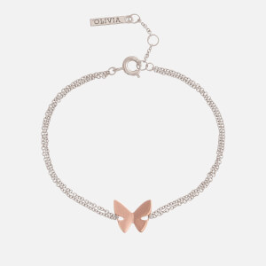 Olivia Burton Women's Social Butterfly Chain Bracelet - Silver and Rose Gold