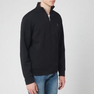 Polo Ralph Lauren Men's Double Knit Quarter Zip Collar Logo Sweatshirt - Black