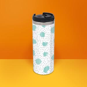 Mint And Black Polka Dot Stainless Steel Travel Mug