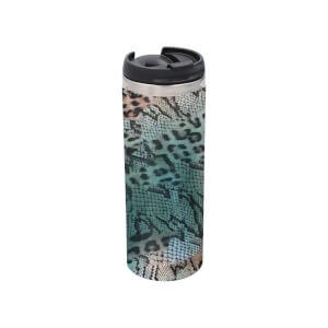 Colourful Animal Print Stainless Steel Thermo Travel Mug - Metallic Finish