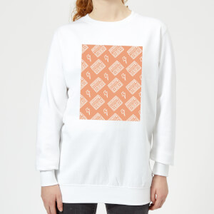 Boombox Pattern Orange Women's Sweatshirt - White