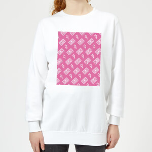 Cassette Tape Pattern Pink Women's Sweatshirt - White