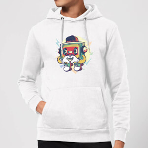 Cassette Tape Love Character Hoodie - White