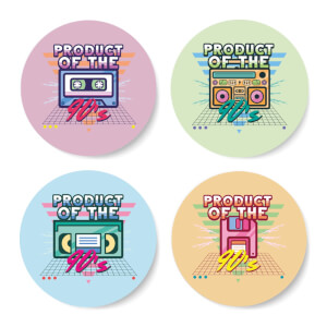 Product Of The 90'S Plain Background Coaster Set Circle Coaster Set