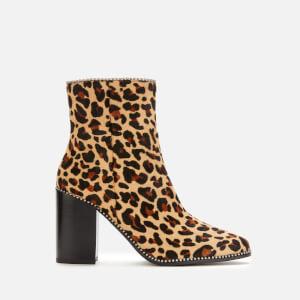 Coach Women's Drea Beadchain Leopard Heeled Ankle Boots - Leopard Natural