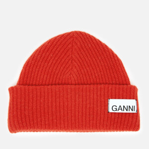 Ganni Women's Knitted Beanie - Fiery Red