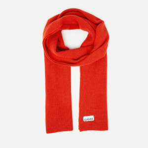 Ganni Women's Knitted Scarf - Fiery Red