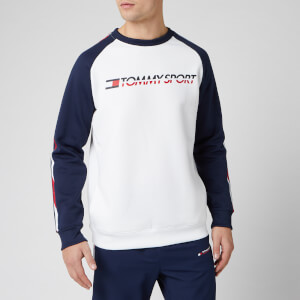 Tommy Sport Men's Fleece Tape Crew Neck Sweatshirt - PVH White