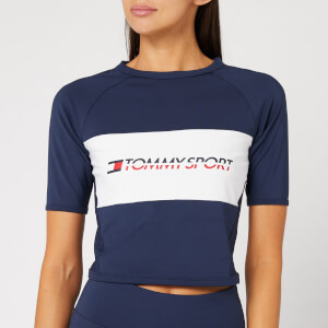 Tommy Sport Women's Cropped Blocked T-Shirt - Sport Navy