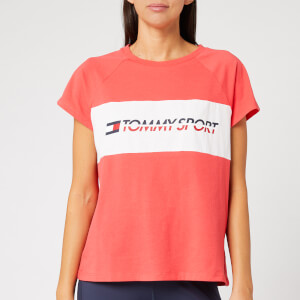 Tommy Sport Women's Short Sleeve Blocked Logo T-Shirt - Hibiscus Red