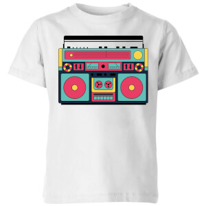 Colourful Boombox Kids' T-Shirt - White