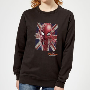 Spider-Man Far From Home British Flag Women's Sweatshirt - Black