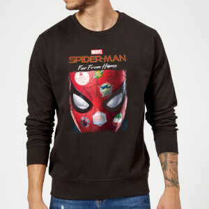 Spider-Man Far From Home Stickers Mask Sweatshirt - Black