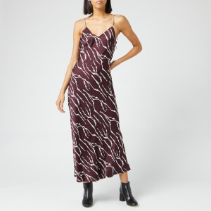 Whistles Women's Dagma Twig Print Slip Dress - Burgundy