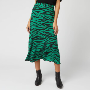 Whistles Women's Tiger Print Button Through Skirt - Green/Multi