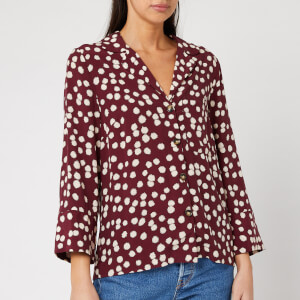 Whistles Women's Illustrated Flower Pyjama Shirt - Burgundy