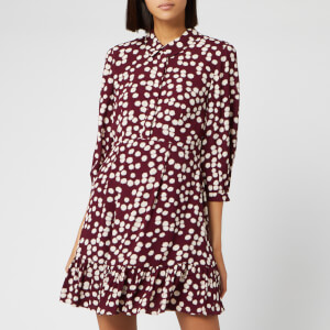 Whistles Women's Agata Illustrated Flower Dress - Burgundy