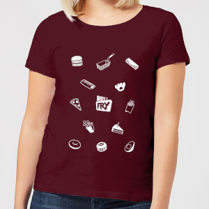 Does It Fry Pattern Women's T-Shirt - Burgundy
