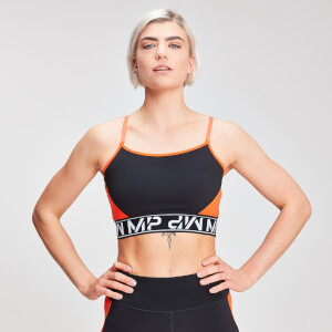 Crop Top Colour Block Branded - Negro