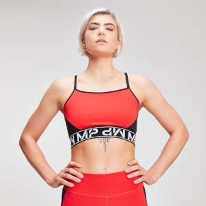 MP Dames Colour Block Branded Crop Top - Danger