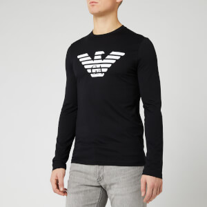 Emporio Armani Men's Long Sleeve Large Eagle T-Shirt - Black