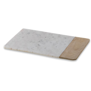 Nkuku Bwari Long Marble and Mango Wood Chopping Board - Small - White