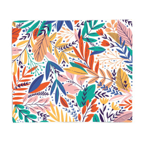 Colourful Leave Print Fleece Blanket