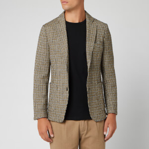 Officine Generale Men's Houndstooth Lightest Jacket - Olive/Navy