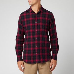 Officine Generale Men's Lipp Stitch Jap Shadow Plaid Shirt - Black/Framboise