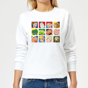 Disney Toy Story Face Collage Women's Sweatshirt - White