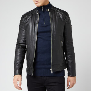 Superdry Men's City Hero Leather Racer Jacket - Black