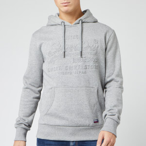Superdry Men's Sweat Shirt Shop Embossed Hoody - Jasper Grey