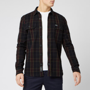 Superdry Men's Merchant Milled Long Sleeve Shirt - Black Check