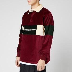 Drole De Monsieur Men's Velvet Paneled Polo Shirt - Burgundy