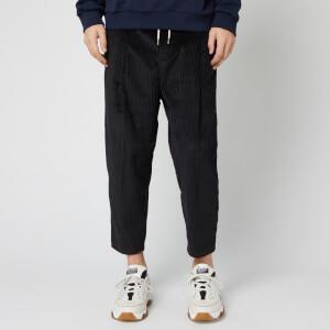 Drole De Monsieur Men's Cropped Cord Pants - Black