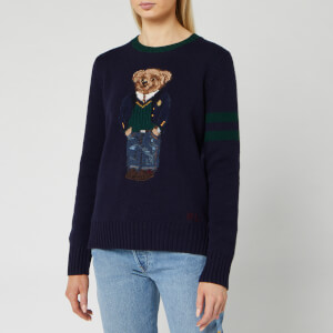 Polo Ralph Lauren Women's Bear Long Sleeve Sweater - Navy Multi