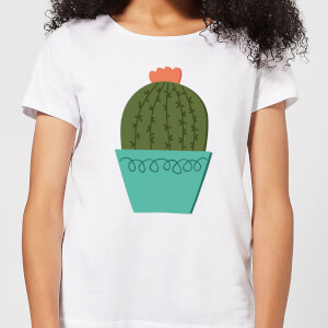 Cactus With Flower Women's T-Shirt - White
