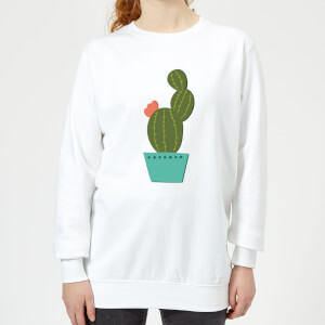 Single Potted Cactus Women's Sweatshirt - White