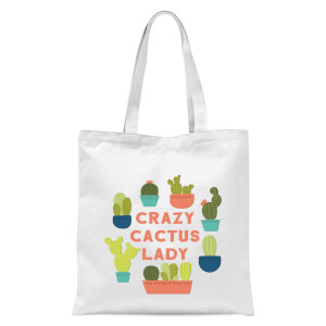 Crazy Cactus Lady Tote Bag - White