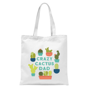 Crazy Cactus Dad Tote Bag - White