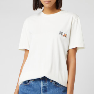 Maison Kitsuné Men's Double Fox Head Patch T-Shirt - Latte