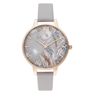 Olivia Burton Women's Abstract Floral Watch - Grey Lilac/Rose Gold