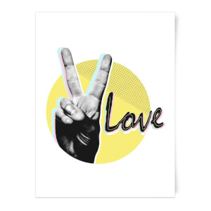 Peace Love With Circular Background Art Print